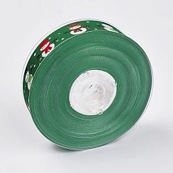 """Rubans gros grain imprimés polyester, le thème de Noël, bonhomme de neige, verte, 1"""" (25 mm); environ 100yards / rouleau (91.44m / rouleau)(ORIB-E002-D04)"""