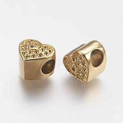 Supports de strass de perles européennes en 304 acier inoxydable, cœur, or, 10x11x10mm, trou: 4.5 mm; ajustement pour 1 mm strass.(STAS-J022-141G)