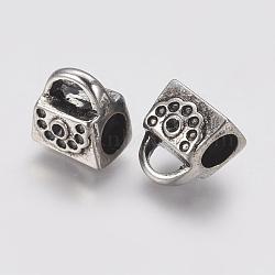 Supports de strass de perles européennes en 304 acier inoxydable, Perles avec un grand trou   , sac, argent antique, 11x10x8mm, trou: 4.5 mm; apte à 1 mm strass(STAS-J022-001AS)
