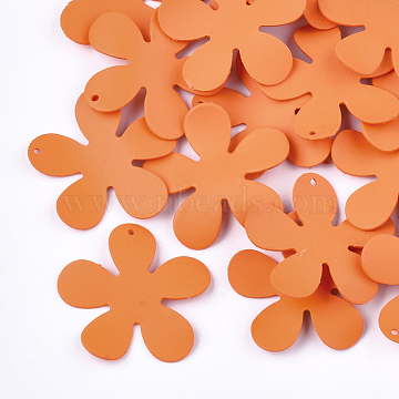 Spray Painted Iron Pendants, Flower, DarkOrange, 33x35x3mm, Hole: 1mm(X-IFIN-S704-02C)