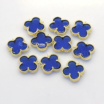 Golden Blue Flower Brass + Resin Links