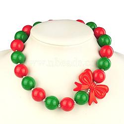 """Enfants en bloc perles acryliques bubblegum colliers volumineux, avec bar et bague de style tibétain basculer fermoirs, rouge, 17.7""""(NJEW-JN00403-03)"""