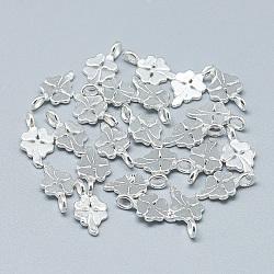 Breloques en 925 argent sterling, trèfle à quatre feuilles, argenterie, 12x6.5x3.5mm, Trou: 2mm(STER-T002-91S)