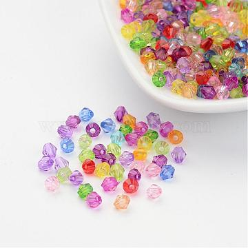 Mixed Color Chunky Dyed Transparent Acrylic Faceted Bicone Spacer Beads for Kids Jewelry, 4mm in diameter, hole: 1mm(X-DBB4mm)