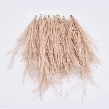 Ostrich Feather Tassel Big Pendant Decorations, with Brass Findings, Golden, Dark Salmon, 130~170x4mm, Hole: 1.6mm(X-FIND-S302-08C)