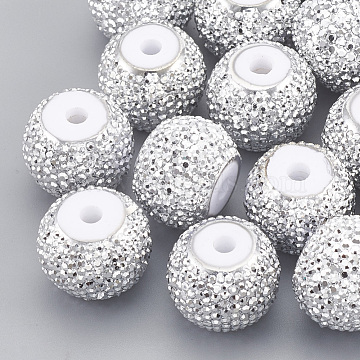 8mm White Rondelle Resin+Rhinestone Beads