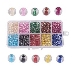 10 couleurs vaporisées perles de verre peintes, centre teint, rond, couleur mixte, 6mm, trou: 1.3~1.6mm; environ 90~95 pcs / comparent, environ 900~950 pcs / boîte(DGLA-JP0001-20-6mm)