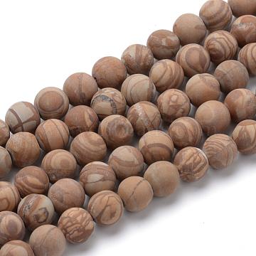 naturelle jaspe d'image rangées de perles rondes, Style givré, 8~8.5 mm, trou: 1 mm; environ 47 perle / brin, 15.5(X-G-T055-8mm-06)