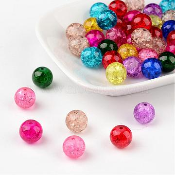 Mixed Crackle Glass Beads, Round, 10mm, Hole: 1.3~1.6mm(X-CCG-Q001-10mm-M)