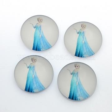 Printed Glass Half Round/Dome Cabochons, Beige, 20x6mm(GGLA-N004-20mm-E47)