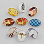 Glass Cabochons, Oval with Mixed Pattern, Mixed Color, 18x13x4.5~5.5mm