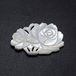 cabochons coquille, fleur, 27~29x44~45x3~5 mm(BSHE-E564-45A)