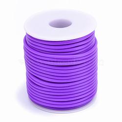 Tuyau creux corde en caoutchouc synthétique tubulaire pvc, enroulé aurond de plastique blanc bobine, mauve, 3mm, trou: 1.5 mm; environ 25 m / rouleau(RCOR-R007-3mm-18)