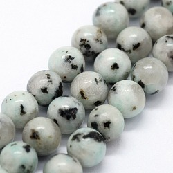 jaspe de sésame naturel / perles de jaspe kiwi, arrondir, 6~6.5 mm, trou: 0.5 mm; environ 63 perle / brin, 14.96 (38 cm)(X-G-I199-29-6mm)