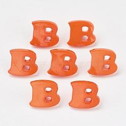Boutons en acrylique, 1-trou, teint, lettre b, orange rouge , 14x13x2mm, Trou: 3mm(X-BUTT-E029-05)
