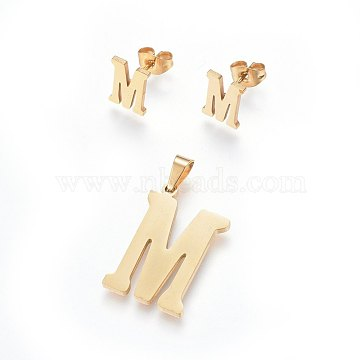 304 Stainless Steel Pendants and Stud Earrings Jewelry Sets, Alphabet, Letter.M, 20~23x13~19x1.5mm, Hole: 6x3mm; 6~10x6~9x1mm, Pin: 0.8mm(X-SJEW-P099-13G)