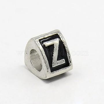 Platinum Tone Zinc Alloy Enamel European Beads, Large Hole Triangle Beads with Letter.Z, 9x9x7mm, Hole: 5mm(X-MPDL-L001-01Z)