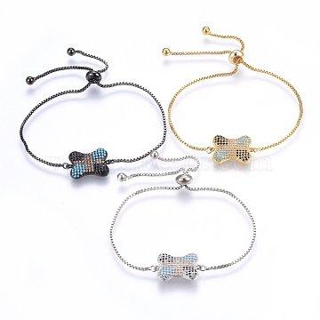 Adjustable Brass Micro Pave Cubic Zirconia Bolo Bracelets, Slider Bracelets, Bone, Colorful, Mixed Color, 10-1/4 inch(26cm), 1.2mm(BJEW-H583-22)