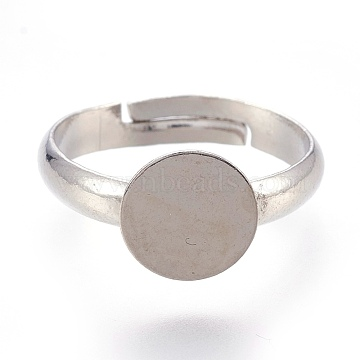 Adjustable Brass Finger Rings Components, Pad Ring Base Findings, Flat Round, Platinum, Tray: 8mm; 14.5mm(KK-L167-10B)