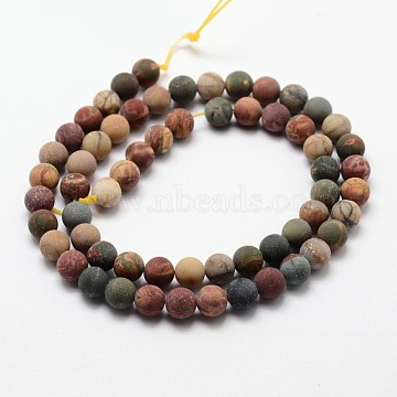 Matte Natural Picasso Stone/Picasso Jasper Beads Strands, Round, 4mm, Hole: 1mm, about 85~88pcs/strand, 14.7 inches(X-G-K113-03-4mm)