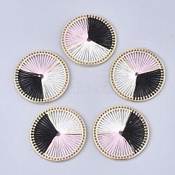 подвески из хлопчатобумажной нити, сплава с выводами, плоские круглые, золотой, розовый, 34x2.5 mm(FIND-S306-06D)