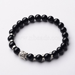 Buddha Head Gemstone Beaded Stretch Bracelets, with Tibetan Style Beads and Brass Beads, Black Stone, 55mm(X-BJEW-JB01864-06)
