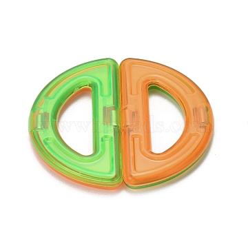 DIY Plastic Magnetic Building Blocks, 3D Building Blocks Construction Playboards, for Kids Building Toys Gift Accessories, Half Round/Semi-Circle, Random Single Color or Random Mixed Color, 32x62x6mm(DIY-L046-08)