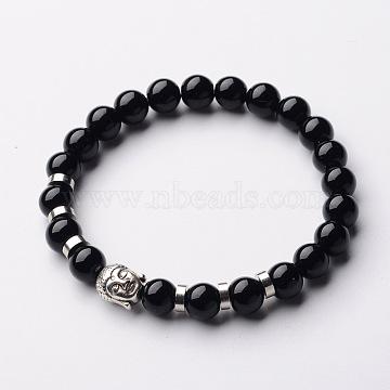 Buddha Head Gemstone Beaded Stretch Bracelets, with Tibetan Style Beads and Brass Beads, Black Stone, 55mm(X-BJEW-JB01864-06)