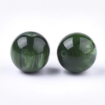 20mm DarkGreen Round Resin Beads