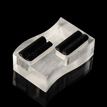 Organic Glass Ring Displays, with Black Velvet, Twist Rectangle, Clear, 37x59x19mm(RDIS-N002-05)