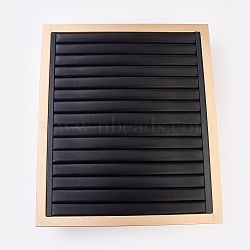PU Leather Ring Displays, with Wood, Jewelry Display Stand, Black, 30.2x13.1x34.9cm(RDIS-L003-08)