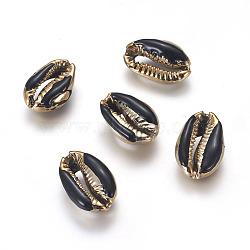 Perles coquillage cauri naturel galvanisé, avec l'émail, perles non percées / sans trou, or, noir, 18~22x13~15x7~8mm(X-BSHE-G019-01G-F)