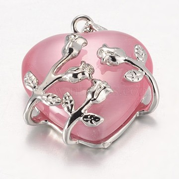 Cat Eye Pendants, with Brass Findings, Heart, Platinum Color, Pink, 23x21x9mm, Hole: 5x4mm(CE-H006-01)