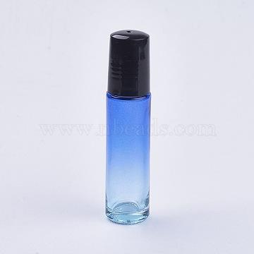 10ml Glass Gradient Color Essential Oil Empty Roller Ball Bottles, with PP Plastic Caps, Dodger Blue, 8.55x2cm; Capacity: 10ml(0.34 fl. oz)(X-MRMJ-WH0011-B01-10ml)