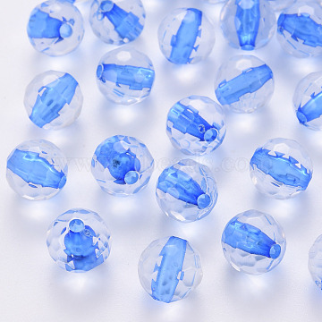 Transparent Acrylic Beads, Round, Faceted, Royal Blue, 12x11.5mm, Hole: 1.8mm, about 560pcs/500g(TACR-S154-10A-86)