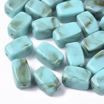 Acrylic Beads, Imitation Gemstone Style, Cuboid, Light Sea Green, 13x7.5x7.5mm, Hole: 1.6mm.(X-OACR-N130-016D)