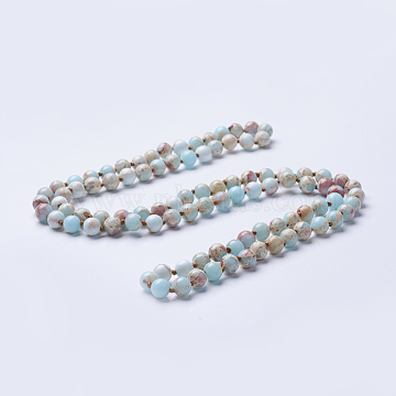 Natural Regalite/Imperial Jasper/Sea Sediment Jasper Beaded Necklaces, Round, Dyed & Heated, Pale Turquoise, 36 inches(91.44cm)(X-NJEW-P202-36-A04)
