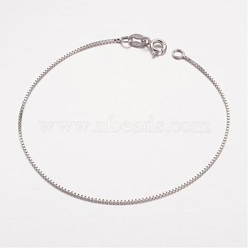 Trendy 925 Sterling Silver Venetian Chain Bracelets, with Spring Ring Clasps, Platinum, 7-1/8 inches(180mm)(STER-P005-02)
