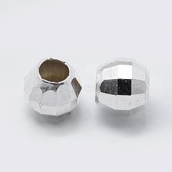 en argent sterling perles d'espacement, facettes, arrondir, argent, 6 mm, trou: 2.5 mm; environ 30 pcs / 5 g(STER-K171-47S-6mm)