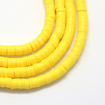 Eco-Friendly Handmade Polymer Clay Beads, Disc/Flat Round, Heishi Beads, Yellow, 4x1mm, Hole: 1mm, about 380~400pcs/strand, 17.7 inches(X-CLAY-R067-4.0mm-22)