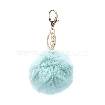 Pom Pom Ball Keychain, with Alloy Lobster Claw Clasps and Iron Key Ring, for Bag Decoration, Keychain Gift and Phone Backpack, Light Gold, Light Cyan, 138mm(X-KEYC-WH0016-13G)