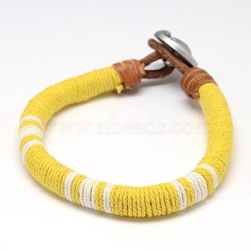 Yellow Leather+Acrylic Bracelets