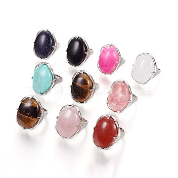 Adjustable Natural & Synthetic Mixed Stone Rings, with 304 Stainless Steel Findings, Oval, 17.8mm(RJEW-O033-D)