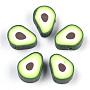 полимерной глины ручной работы бисера, авокадо, зеленый, 11.5x9x5 mm, отверстия: 2 mm
