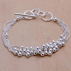 Trendy Brass Multi-strand Bracelets, with Round Beads and Toggle Clasps, Silver Color Plated, 7-7/8inches(20cm)(BJEW-BB12499)