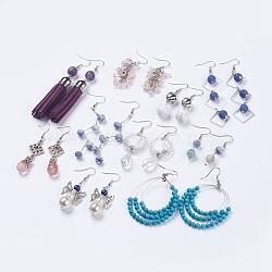 Boucles d'oreilles avec pendentif de pierres gemme, avec les accessoires en laiton, forme mixte, couleur mixte, 45~92mm, pendentif: 28~76x8.5~45x4.5~12 mm(EJEW-MSMC003-05)