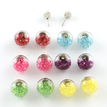 Mixed Color Glass Stud Earrings