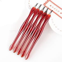 Poussoir en acier inoxydable, manucure nail art outil, poignée en plastique, rouge, 110mm(MRMJ-S011-012)