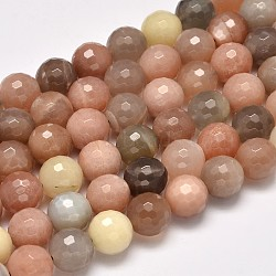 Grade AA Natural Sunstone Faceted Round Beads Strands, 12mm, Hole: 1mm; about 32pcs/strand, 15.5inches