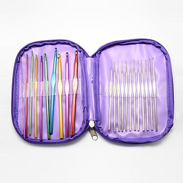 Colored Aluminum Crochet Hooks and Iron Crochet Hooks Needles, Mixed Color, 125~150x2~6.5mm; 22pcs/bag(TOOL-R041-02)